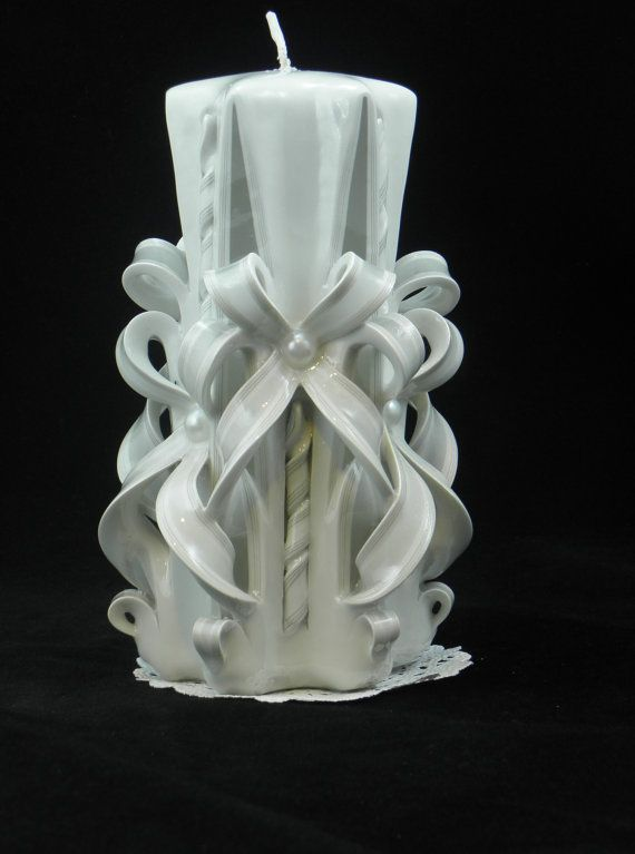 Hand Carved Candle, White Candle, Wedding Candle, Straight Carve, 7 x 2 Inch Item 627 #whitecandleswedding