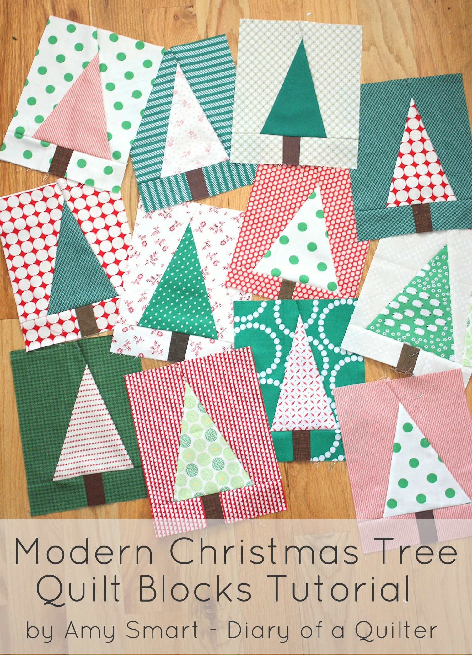 Modern Christmas Tree Quilt Block Tutorial | Weihnachtsdeko diy ...