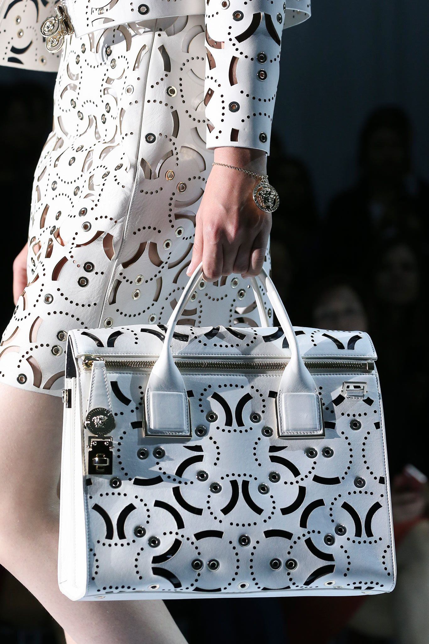 475b8c6cb2 Bag detail  trend  inspiration Spring 2015 Ready-to-Wear - Versace--- laser  cut on fabrics. and leather .
