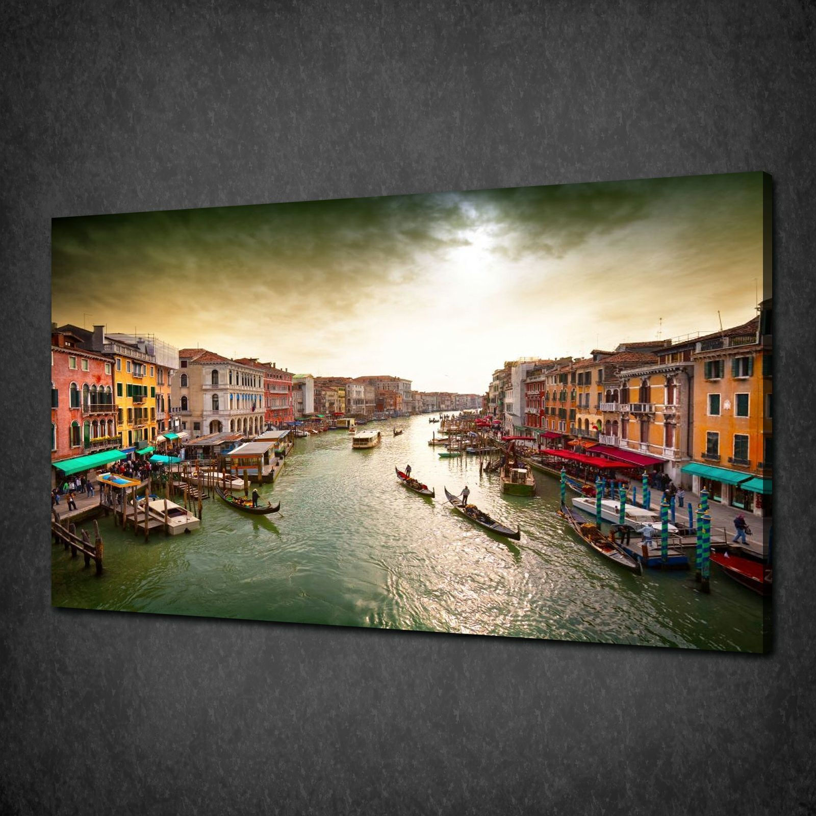Italy #Venice Grand Canal Boats #Canvas Wall Art Print #Picture