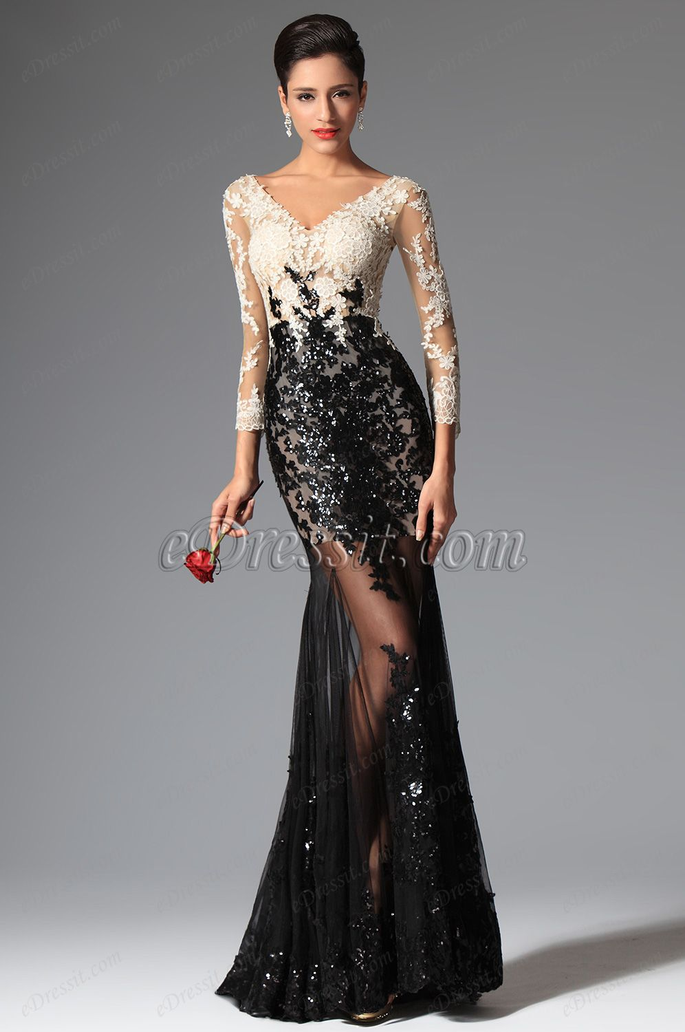 Sexy vcut sequin lace sleeves evening prom ball gown
