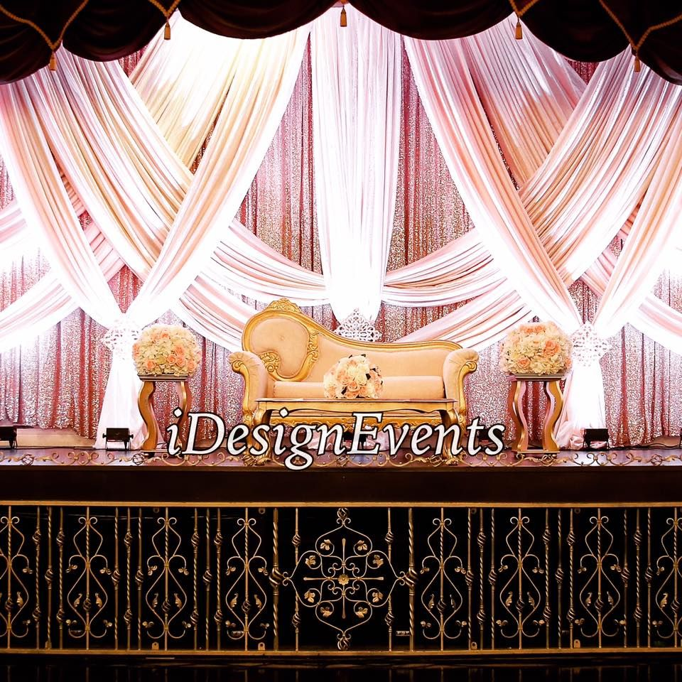 Rose Gold Sequin Backdrop Stage Design With Swagging In Ivory For Maharani Wedding Decor Available Idesigne Rental Decorating Chair Cover Rentals Simple Decor
