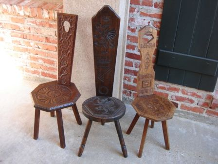 Antique English Hand Carved Wood Spinning Wheel Chairs - Antique English Hand Carved Wood Spinning Wheel Chairs Antiques