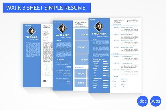 Wajik 3 Sheet Simple Resume Word by YanBrothers Shop on - how to create resume in word
