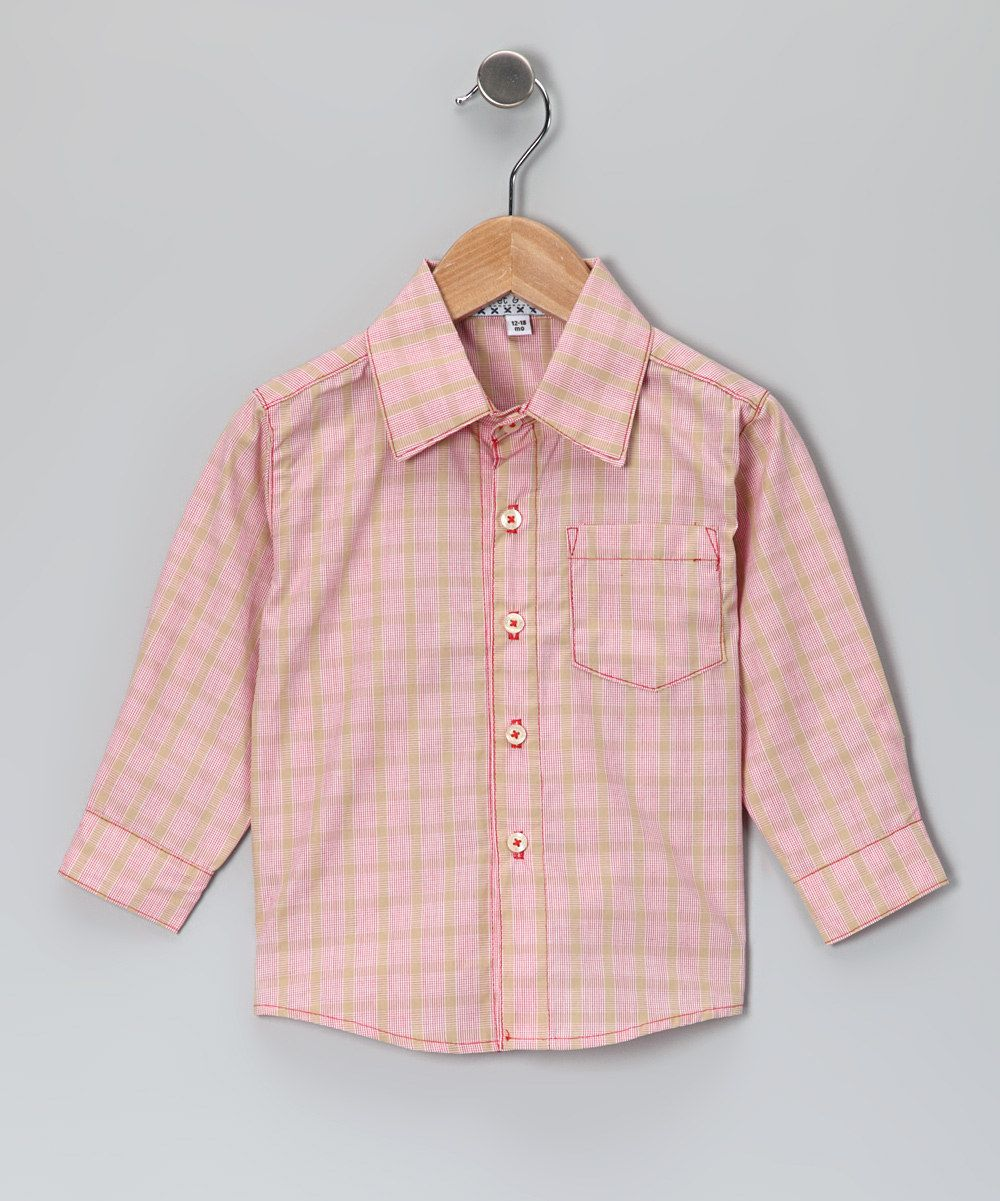 Red & Khaki Plaid Button-Up Shirt - Infant, Toddler & Boys  Might have to get this. It's pretty darling and she's grown out of her other button ups. $23.99