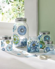 Upcycled Modern Mason Jars with glass paint. #Glass #Craft and #Ideas