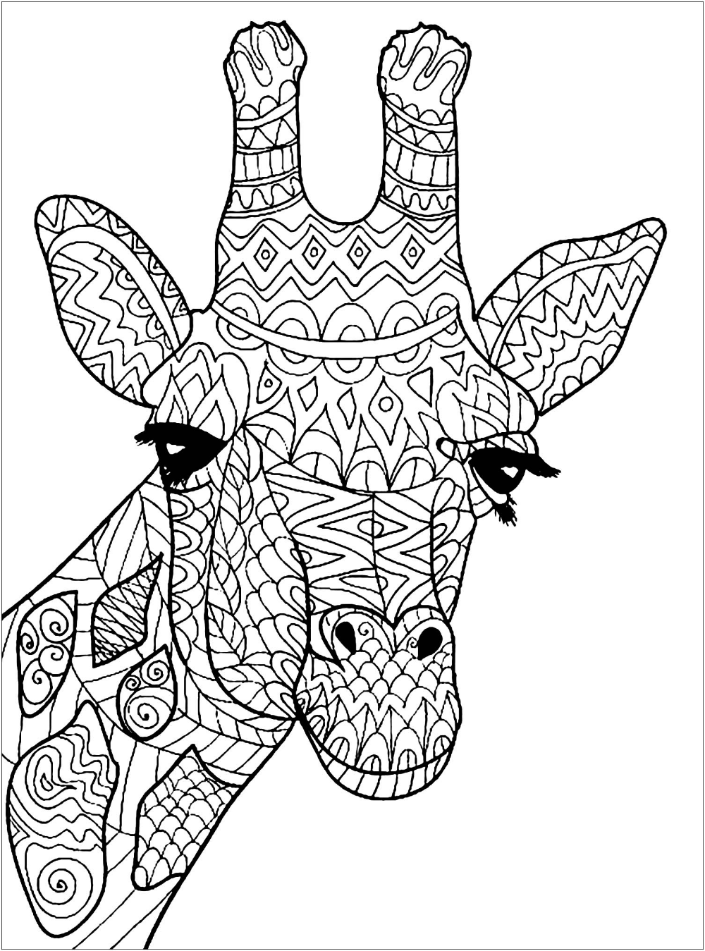 Color This Beautiful Giraffe Head With Cute Patterns Giraffe Coloring Pages Animal Coloring Pages Giraffe Colors