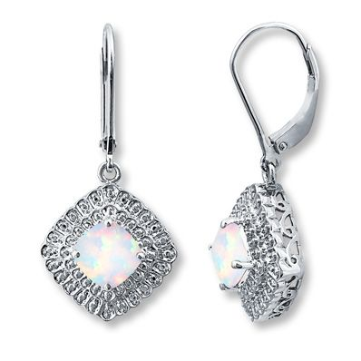 LabCreated Opal Diamond Accents Sterling Silver Earringsjareds