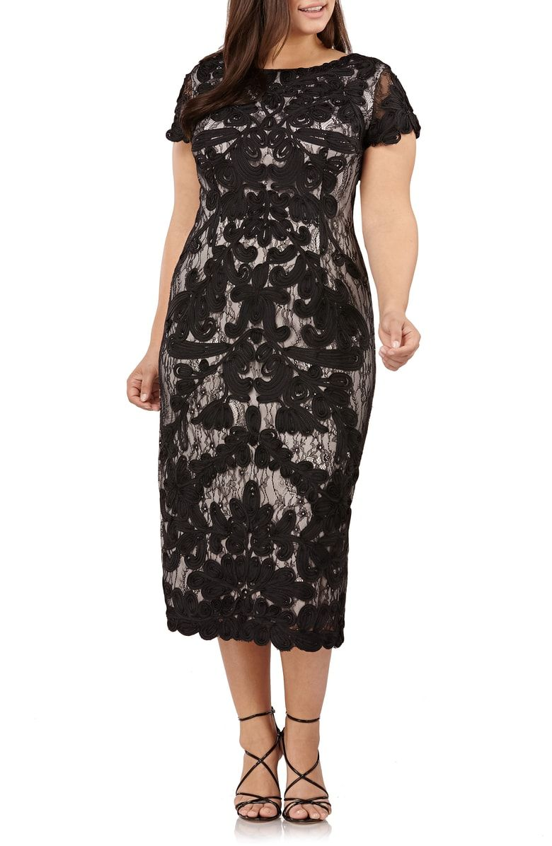 72db1ec9373 Free shipping and returns on JS Collections Two Tone Soutache Embroidered  Midi Dress (Plus Size) at Nordstrom.com. Swirling soutache-embroidered lace  lends ...