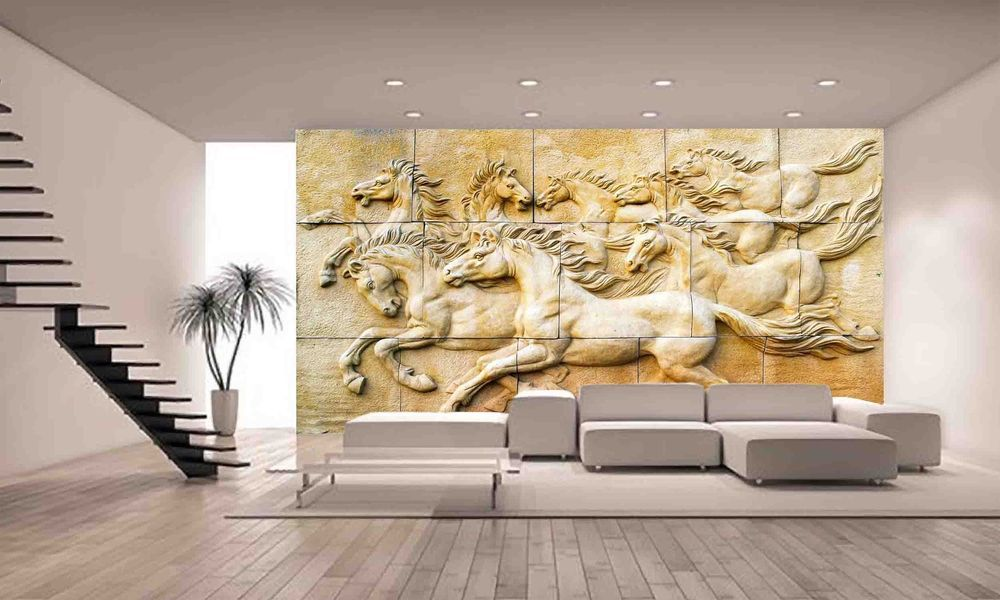 STONE SCULPTURE HORSE Wall Mural Photo Wallpaper GIANT DECOR Paper ...