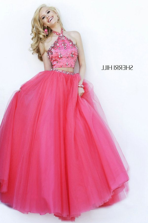 Hot Pink Beaded Halter Top Sherri Hill Prom Gown 32231 Dress [Sherri ...