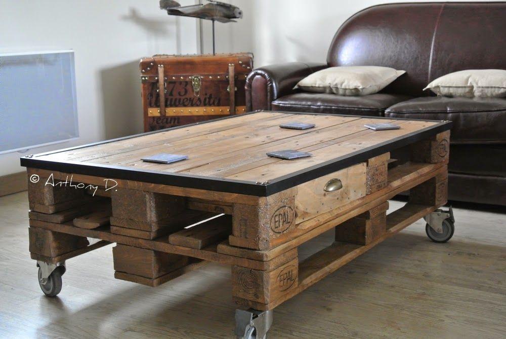 la table basse en palettes d 39 anthony living pinterest salons tables and pallets. Black Bedroom Furniture Sets. Home Design Ideas
