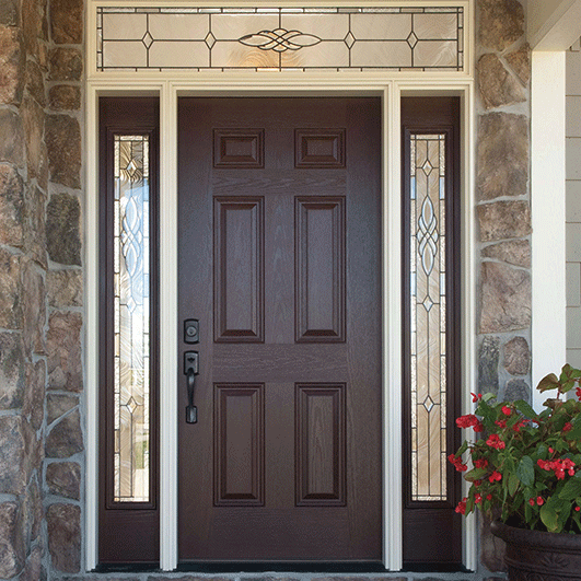 We Ordered This New Front Door And We Love It Without The Transom Pella 6 Panel Entry Door Solid Exterior Doors Entry Door With Sidelights Front Entry Doors