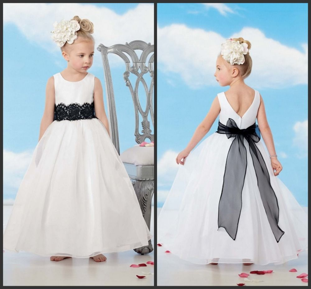 Click To Buy Pretty A Line Flowers Girl Dresses Black Sash