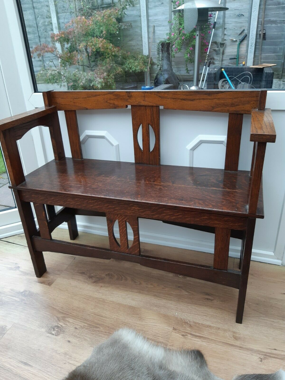 Details about Arts And Craft tiger oak bench Oak bench