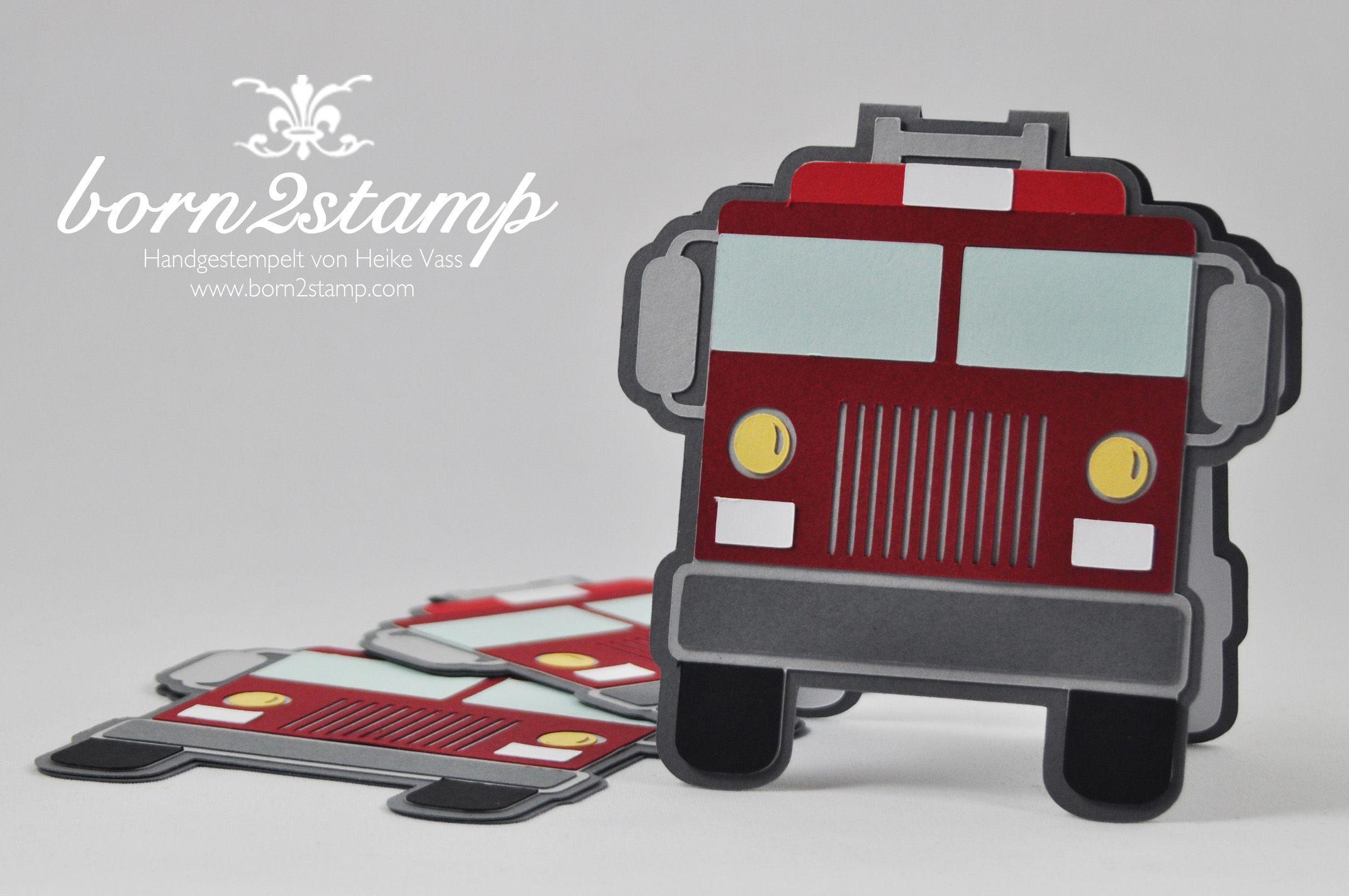 born2stamp STAMPIN' UP! Einladung - Feuerwehrparty - firefighter birthday party invitation