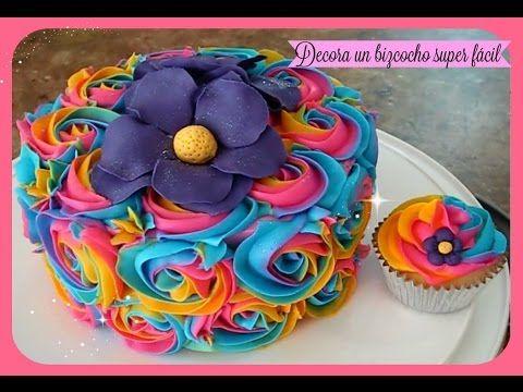 Como decorar un bizcocho pastel y cupcakes fcil con flores de