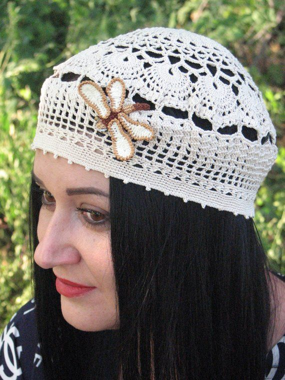 2ac54927659 Summer beanie for women Crochet beige hat beret Cotton beach hat women gift  for girlfriend lace Fren