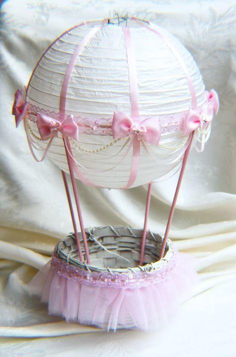 Aire caliente globo bebé ducha centro de mesa - encaje rosa y marfil