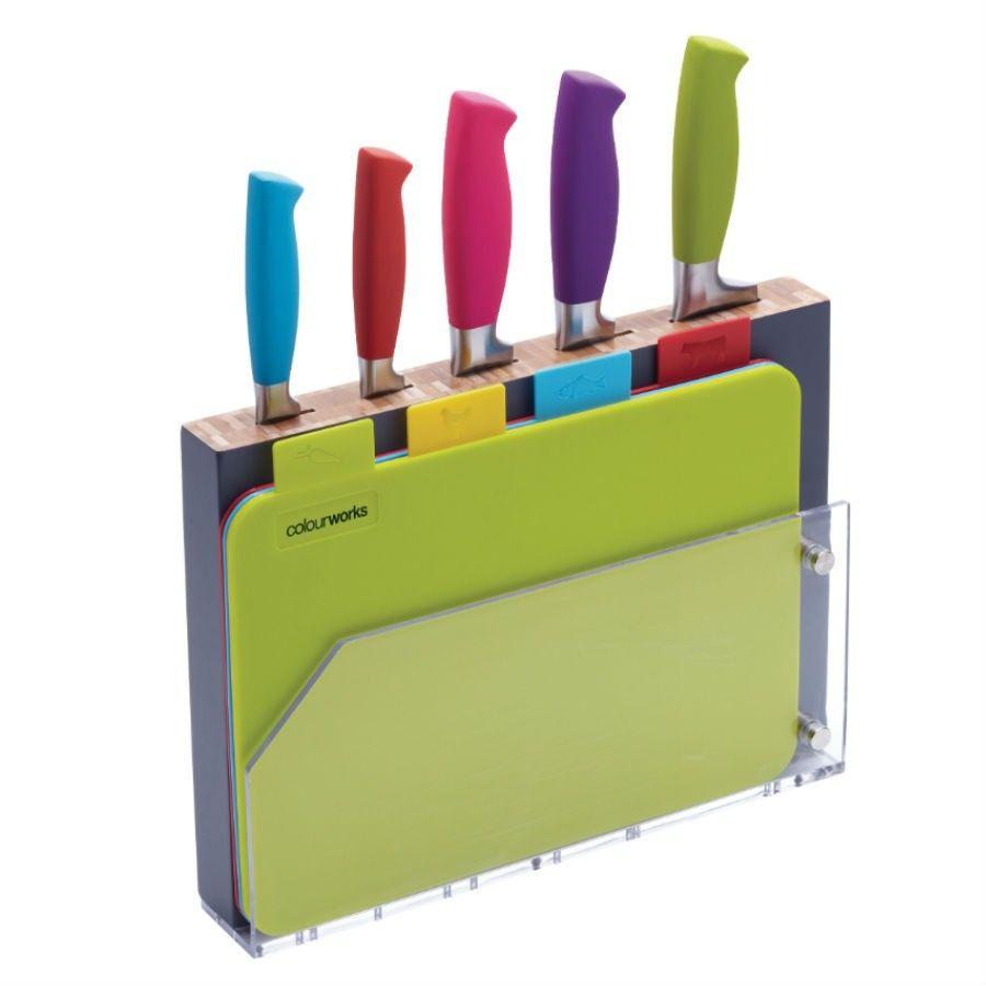 Kitchen Craft Colourworks 9 Piece Knife Block And Board Set Knife Block Set Kitchen Crafts Knife Block