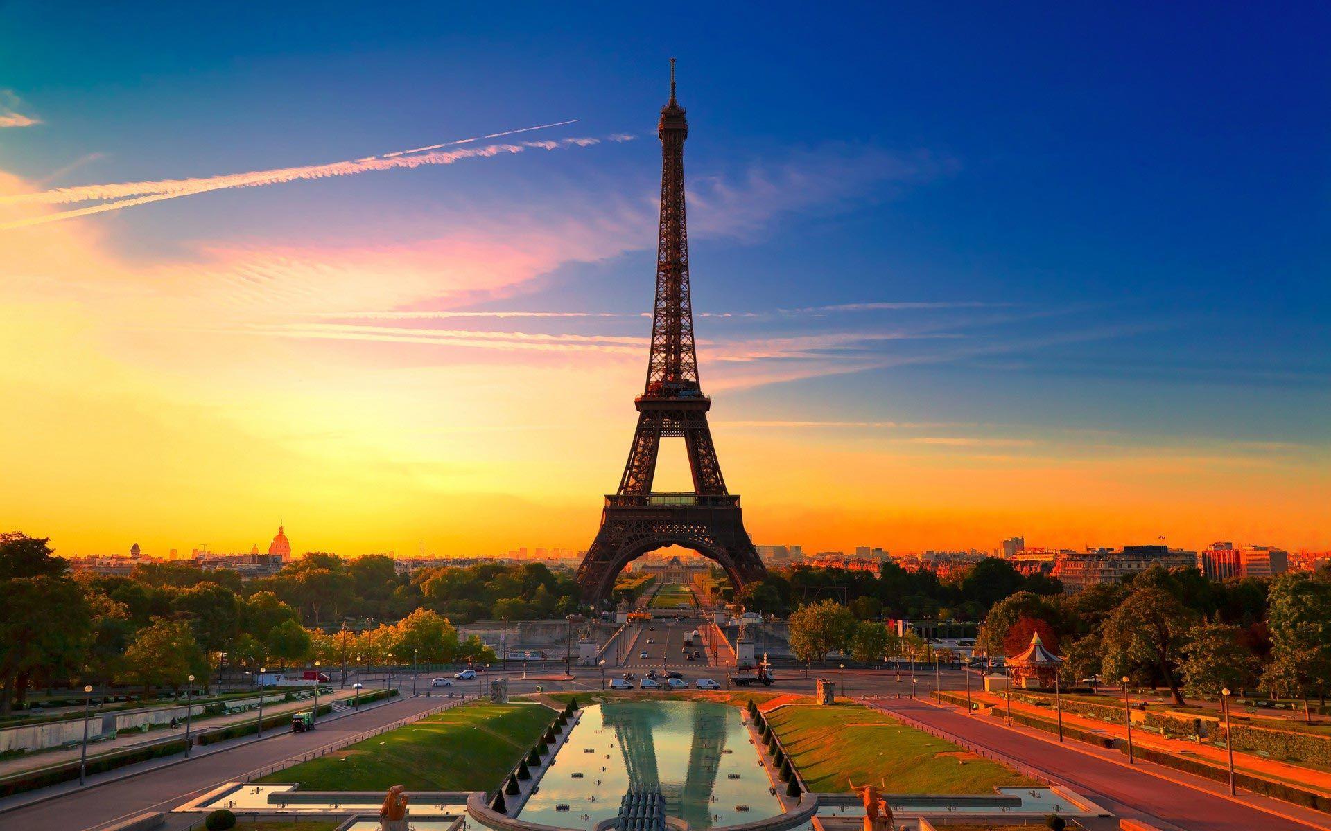 Sunset Paris Eiffel Tower City Landscape Laptop Wallpapers Tumblr Wallpaper Eiffel Tower Tour Eiffel Tower
