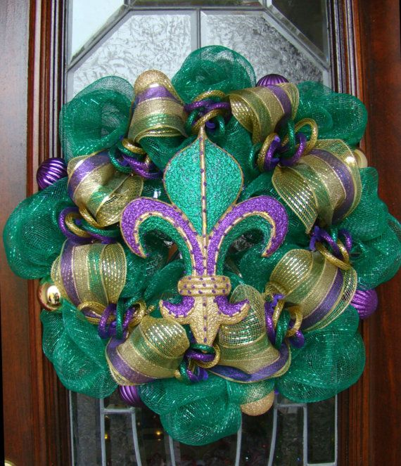 Beautiful Green Gold and Purple Deco Mesh by FreckleFaceCrafts, $55.00