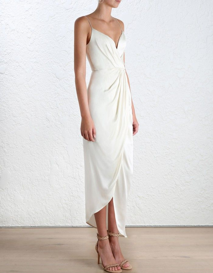bf7d288eba Zimmermann Sueded Silk Plunge Long Dress. Model Image. Our model is 5 10  and is wearing a size 0