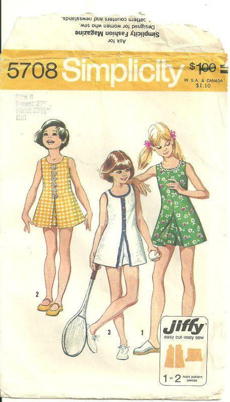 Simplicity 5708 Sewing Pattern Girls Jiffy Mini-Dress & Shorts Size ...