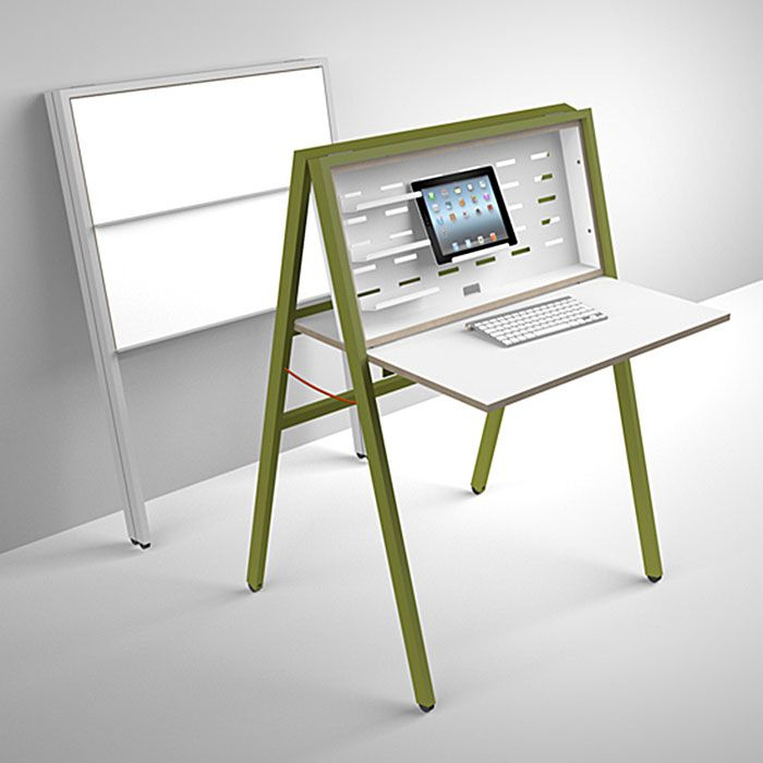 The HIDEsk is a fully collapsible desk. When folded closed the front side,  which