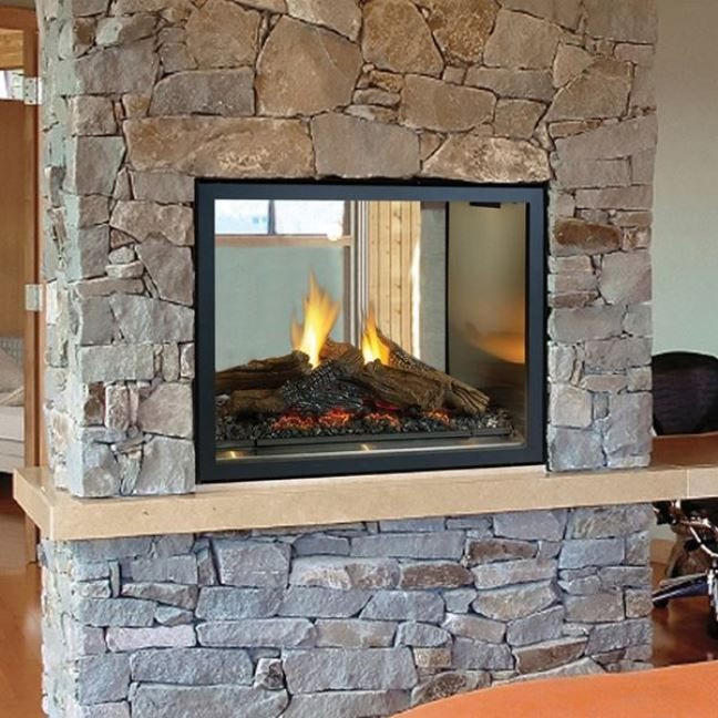 Wood Burning Fireplace, Double Sided Gas Fireplace Insert With Blower