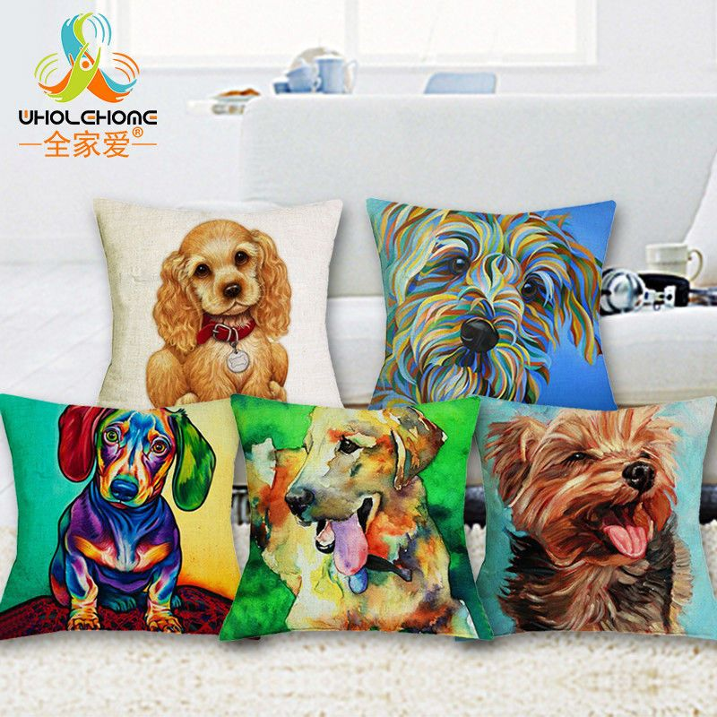 Oil Printed Cushion Cover Home Decor Poodle Cute Dogs Pillowcase Bedroom Dog Decorative Pillow Cases Dog Cushion Covers Pillows