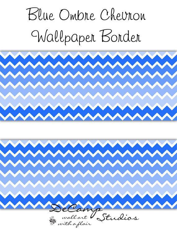 blue ombre chevron wallpaper border wall decals for baby boy nursery