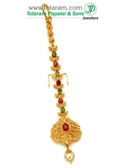 Buy 22K Gold Tikka - Maang Tikka with Uncut Diamond - GT165 with a list price of $873.99 - 22K Indian Gold Jewelry from Totaram Jewelers