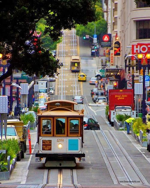 Find Shops And Cable Cars Galore On Powell Street In San