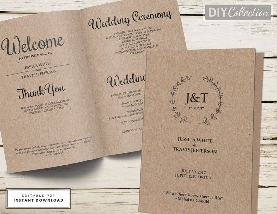 Rustic Wedding Program Template Folded Programs Instant Editable
