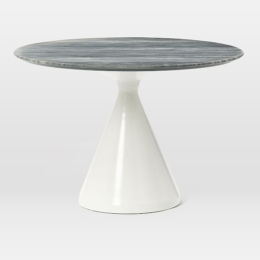 Silhouette Pedestal Dining Table Gray Marble West Elm Dining