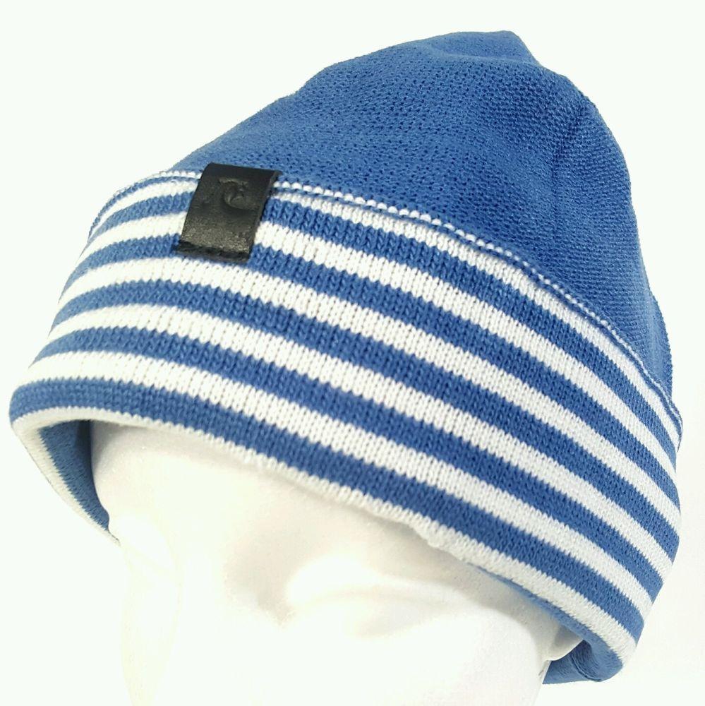 2192afbb257 Quiksilver Beanie Daphne Blue White Striped Cuff Hat 100% Acrylic New NWT   Quiksilver  Beanie