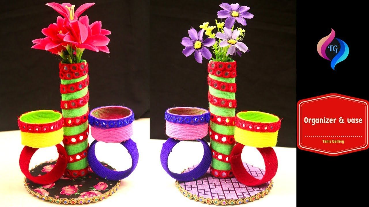 DIY Inspiring Craft Ideas Using Plastic Bottles   Toilet Paper Roll -  Flower Vase with Organizer - YouTube c0801e4f821eb