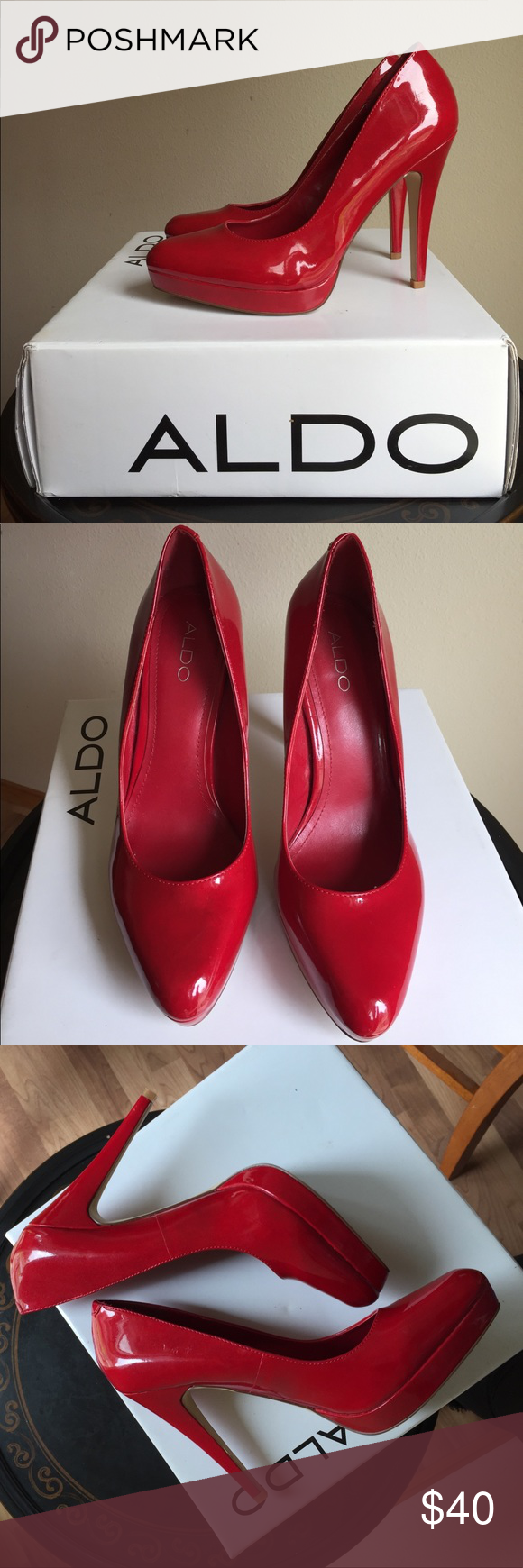 c8c99779a22 ALDO Red Patent Heels Like new condition! Unnoticeable Slight scratches  (see pictures). These are GORGEOUS and Confident statement shoes!