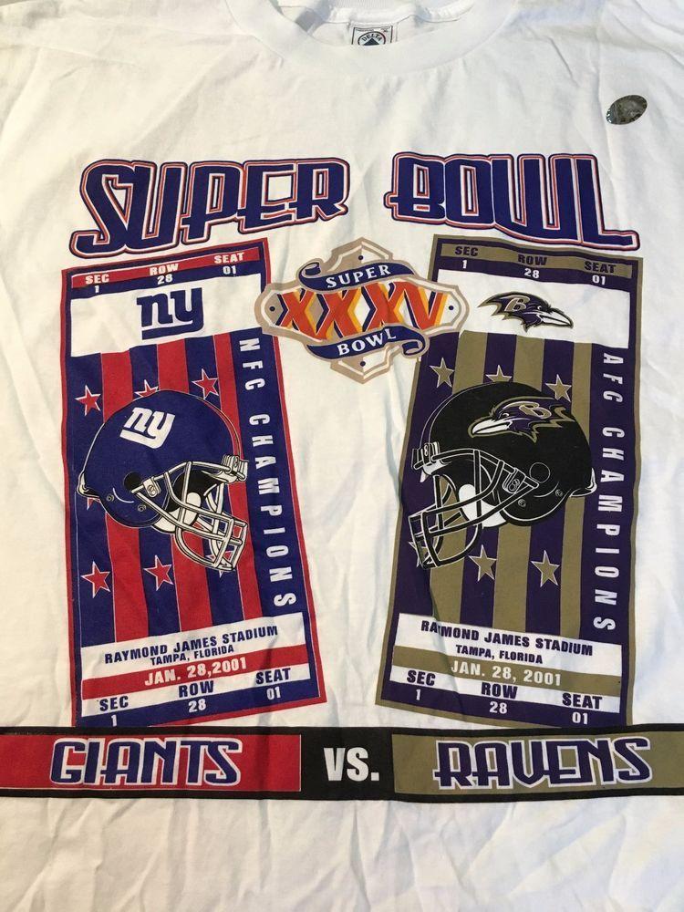 BRAND NEW SUPER BOWL XXXV (35) NEW YORK GIANTS VS BALTIMORE RAVENS TEE  SHIRT  NA  NEWYORKGIANTSBALTIMORERAVEN 7c5f39a05