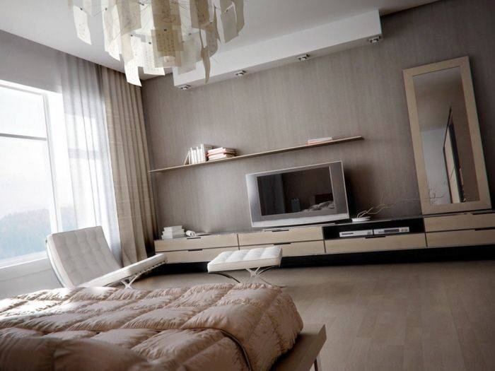 Exceptionnel Muted Bedroom With Modern Light Fixture And Blonde Wooden Storage Modern  Bedroom Lighting, Modern Bedrooms