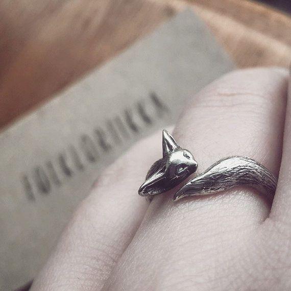 Fennec Fox Ring in Sterling Silver by Folkloriikka on Etsy
