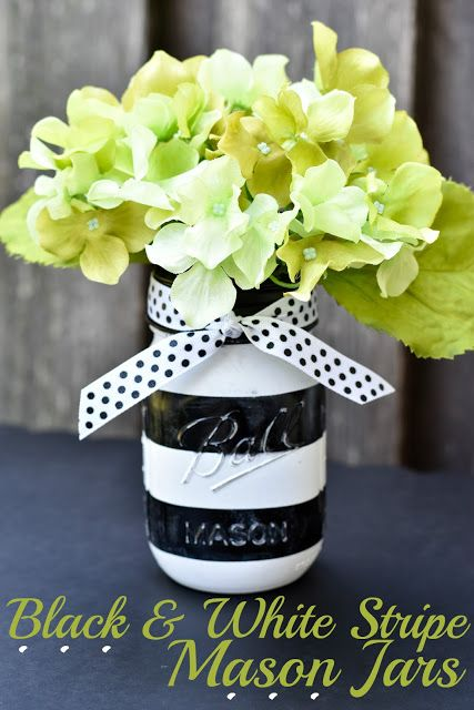 Black And White Stripe Painted Mason Jars Painted Mason Jars Mason Jar Projects Mason Jar Crafts