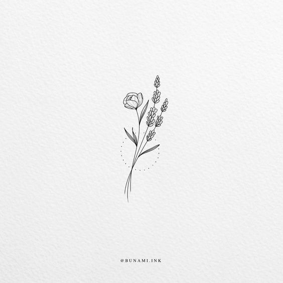 Tiny lavender flowers (sold) – Bunami Ink  Flowers & Floral Bouquets Illustratio…  #flowertattoos - flower tattoos