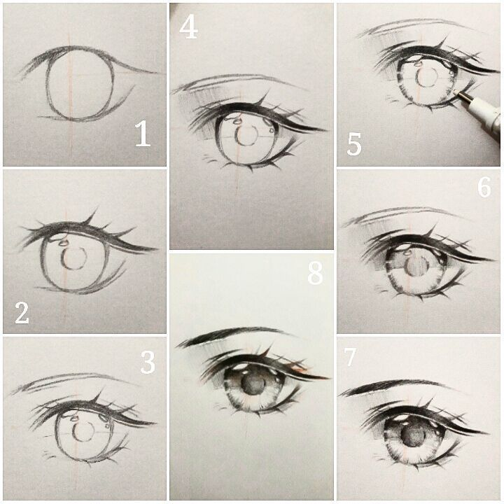how to draw anime step by step eyes