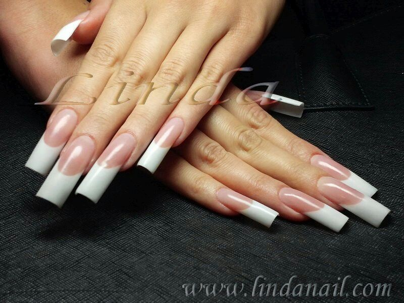Long french manicure | Tunnel nails | Pinterest | Acrylic french ...