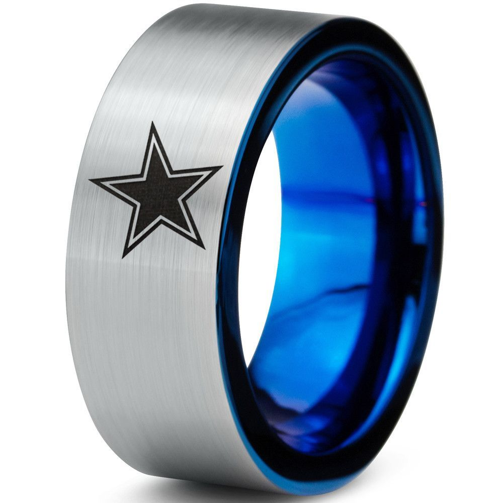 8mm Dallas Cowboys Blue Flat Tungsten Wedding Band Ring Cowboys