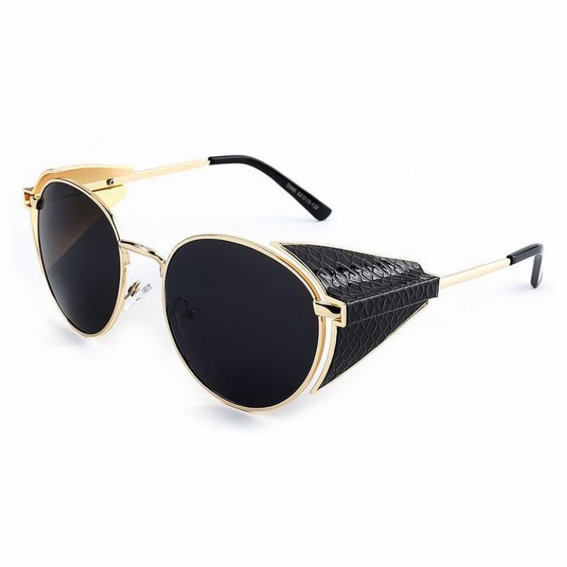 3efec233862 Steampunk Round Metal Side Shields Inventor Sunglasses Gold Frame Grey Lens