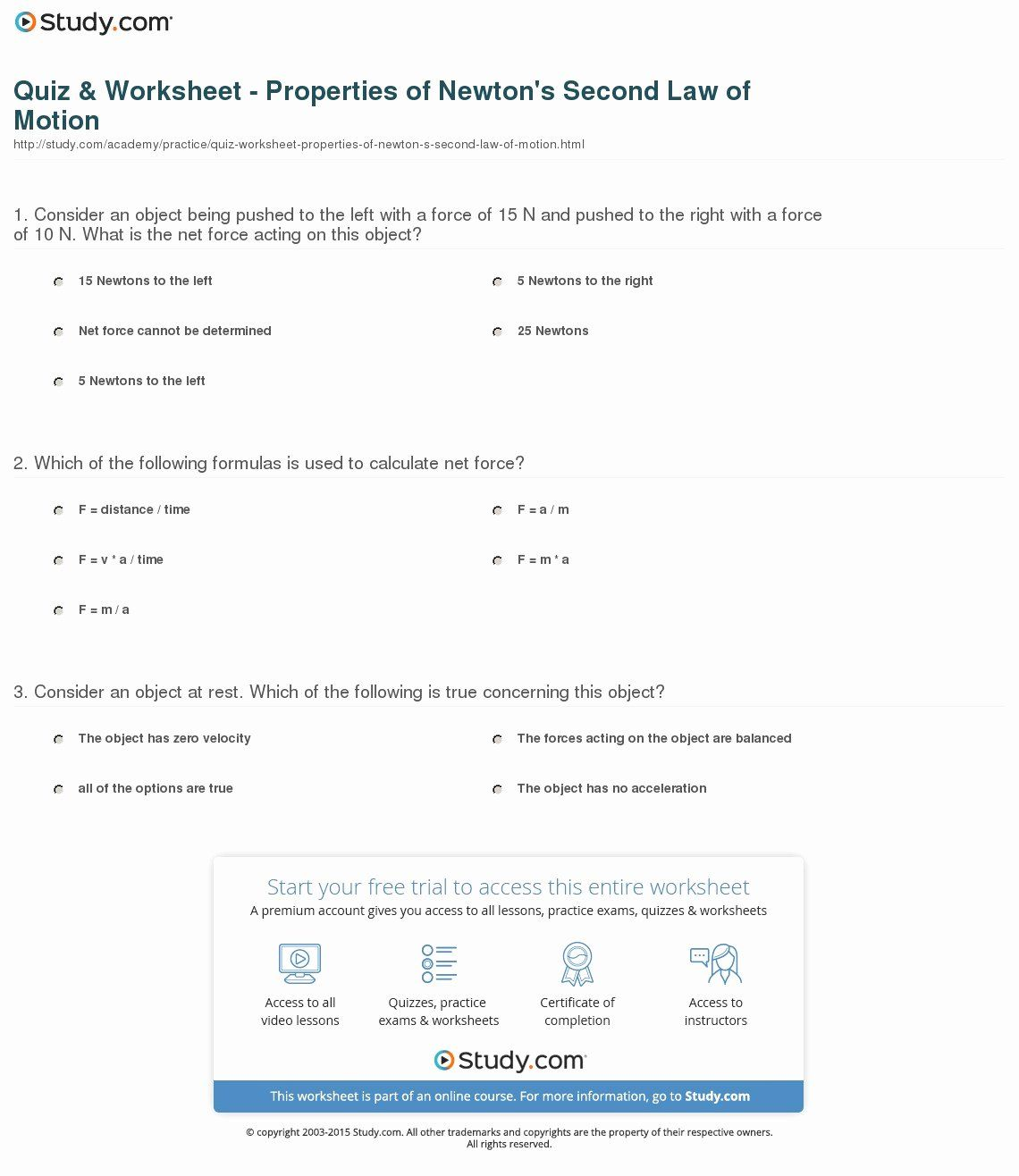 Newton S Third Law Worksheet Answers Awesome Newton S