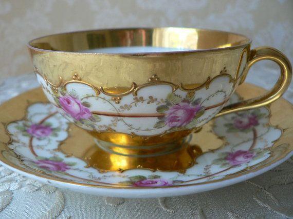 Dresden Wehrener Wehsner Pink Rose Floral Garland Gold Cup and Saucer